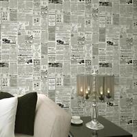 (US) Vintage French Letter Newspaper Wallpaper For Living Room Covering Decor b