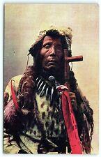 VTG Postcard Antique Native Shot in Eye Warrior Custer Battle Advertising A5