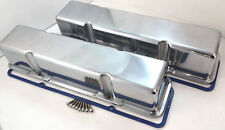 SB Chevy SBC Polished Aluminum Tall Style Smooth Valve Covers No Holes  283-350