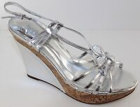 Charles David Lustre Womens Silver Strappy Wedge Heels Shoes Size 9.5 Sandal NWD