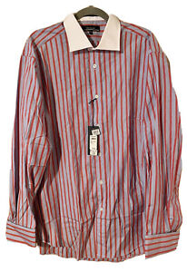 Faconnable Red/Blue Striped Dress Shirt New With Tags Made In USA Sz 17 1/2 XL