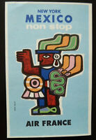 Vintage Air France Postcard Non Stop New York - Mexico Abstract Art Sign J Colin