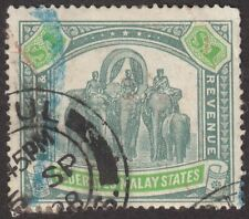 Federated Malay States 1928 Elephants $1 Grey-Green and Emerald Used SG76a