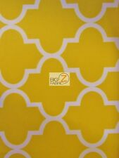 MOROCCAN QUATREFOIL CANVAS OUTDOOR WATERPROOF FABRIC - Yellow - BY YARD AWNINGS