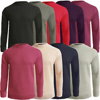Mens Jumper New Casual Ribbed Crew Neck Plain Knitted Knitwear Warm Sweater