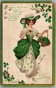 """Vintage ST. PATRICK'S DAY Postcard Artist-Signed CLAPSADDLE """"Let Erin Remember"""""""