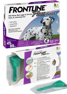FRONTLINE Plus Flea and Tick Treatment for  Large Dogs (45-88 Pounds) ~ 3 Doses
