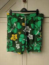 Topman Green Hawaiian Swim Shorts Hula Girl S