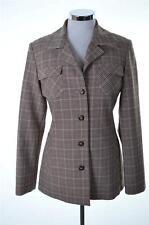 United Colors Benetton Womens Blazer Jacket Size 42 Medium Beige Check Viscose
