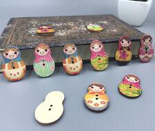 DIY 50X Wooden Russian Dolls Buttons Random mix Sewing Scrapbooking 2-Holes 30mm