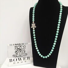 BOWERHAUS Petite Green Agate Necklace - Charm with Pearl Rhodium Plated clasp