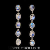 Unheated Oval Moonstone Fire Blue 7x5mm White Cz 925 Sterling Silver Earrings