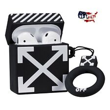 Off White Apple AirPods Wireless Earphone Case Cover Silicone Keychain - NEW