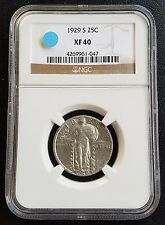 1929-S Standing Liberty Quarter SLQ NGC XF40 Silver 25C Vintage Classic Coin