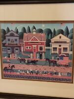 Charles Wysocki Americana Art Print 4th Of July Parade Print Matted Framed