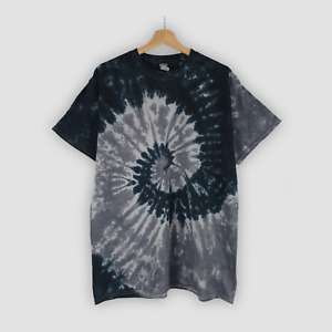 Black & Grey Spiral TIE DYE T-SHIRT. Relaxed Fit 100% Cotton Unisex Hand Dyed