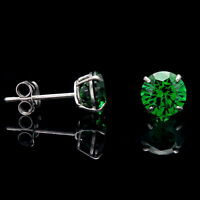 0.25ct-4.00ct Created Gemstone Earrings 14K White Gold Solitaire Round Studs