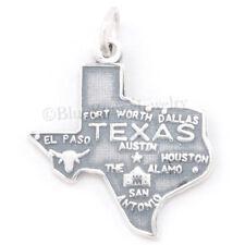 TEXAS STATE Charm pendant Dallas Austin Alamo MAP STERLING SILVER .925 925