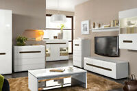 Living dining room furniture cabinet cupboard shelf Tv unit white h.gloss azteca
