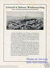 Eisenwaren Fabrik Schmidt & Melmer Weidenau Reklame von 1925 Blech Verzinkerei