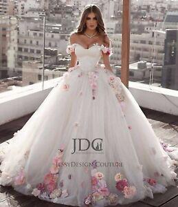 Märchenhaftes Corsage Brautkleid Ballkleid Blüten Rose Schnürt 36 38 40 42 44 46