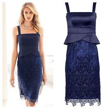 Kaleidoscope Size 8 Navy Satin Lace Peplum DRESS Occasion Wedding Races £105