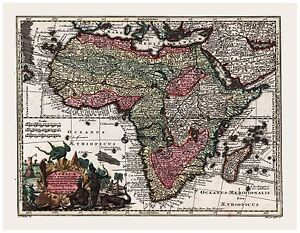 Old Vintage Map of Africa Seutter 1744