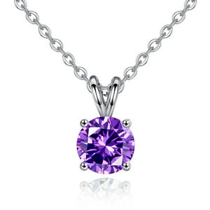 Silver Plated Fashion Solitaire Crystal Necklace Blingbling Stone Zircon Jewelry