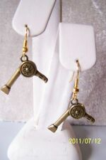 HAIR DRESSERS CUTE BRONZE HAIR DRYER EARRINGS WITH BRONZE GOLD PLATED EAR WIRES
