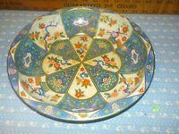 Vintage Daher Decorated Ware Round Tin Bowl Tray England 1971 Blue Orange Floral