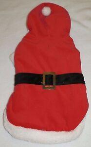 New Dog size Medium Santa Suit Costume Red White Faux Fur Christmas w/Hood
