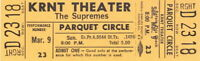THE SUPREMES 1969 TOUR UNUSED KRNT CONCERT TICKET / DIANA ROSS / NM 2 MINT No. 3