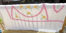 VTG Floral Chenille Bedspread 1950's White Pink Yellow Flowers Clean