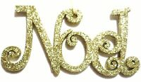 "6"" GOLD GLITTER ""NOEL"" CHRISTMAS HANGING DECORATION TREE ORNAMENT PRINT LETTERS"