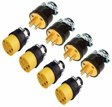 (8-pc) Male & Female Extension Cord Replacement Electrical Plugs 15AMP 125V End