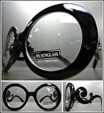 VINTAGE 70's RETRO ROUND SWIRLY Style Clear Lens EYE GLASSES Black Fashion Frame
