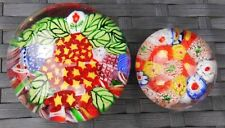 VINTAGE CHINESE MILLEFIORI PAIR OF PAPERWEIGHTS COLOURFUL PAPERWEIGHT x 2