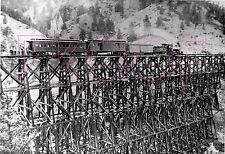 Denver & Rio Grande Western (D&RGW) Engine 38 on high bridge in 1928 - 8x10