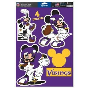 """MINNESOTA VIKINGS 4 PIECE MICKEY MOUSE DECALS 11""""X17"""" WALL GRAPHICS"""