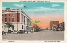 Postcard Broad Street Looking West Tuscaloosa Al Post Office + Bank