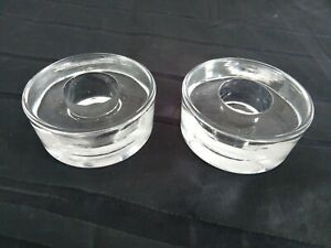 2 Kerzenleuchter Kerzenständer Kerzenhalter Glas rund klar D 5cm