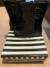 Girls Black Real Leather Buckle My Shoe Boots Size Junior Uk  2