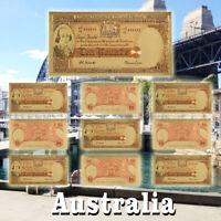 WR Old Australia $10 Dollar Colorful Gold Foil Banknotes Set 10pcs Nice Gift+COA
