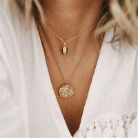 Boho Multilayer Gold Chain Choker Shell Crystal Pendant Necklace Women Jewelry
