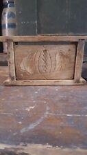 Antique early Primitive wood butter mold print odd rare ? Heart shape leaf AAFA