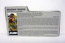 G.I. JOE ALPINE FILE CARD Vintage Action Figure GREY / GREAT SHAPE 1985