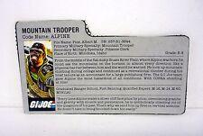 G.I. JOE ALPINE FILE CARD Vintage Action Figure GREY / GREAT SHAPE 1985