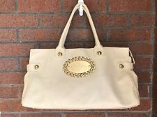 Betsy Johnson Genuine Leather Large Shoulder Bag Handbag Purse Cream EUC