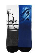 New Nwt carters 2 Pack Athletic Crew Socks Shark Basketball 4-6 Navy Black