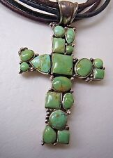 VINTAGE SOUTHWESTERN TURQUOISE STERLING SILVER LARGE CROSS PENDANT  NECKLACE